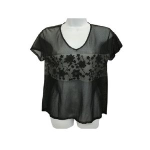 DKNY Embroidery Detail Black Knit M Blouse